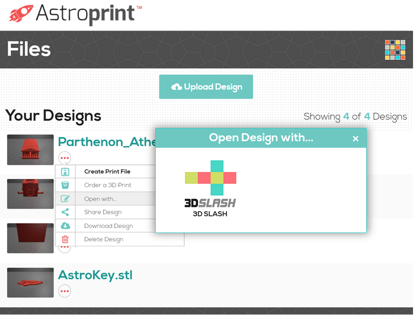 Press Release: AstroPrint Integrates the 3D Slash App