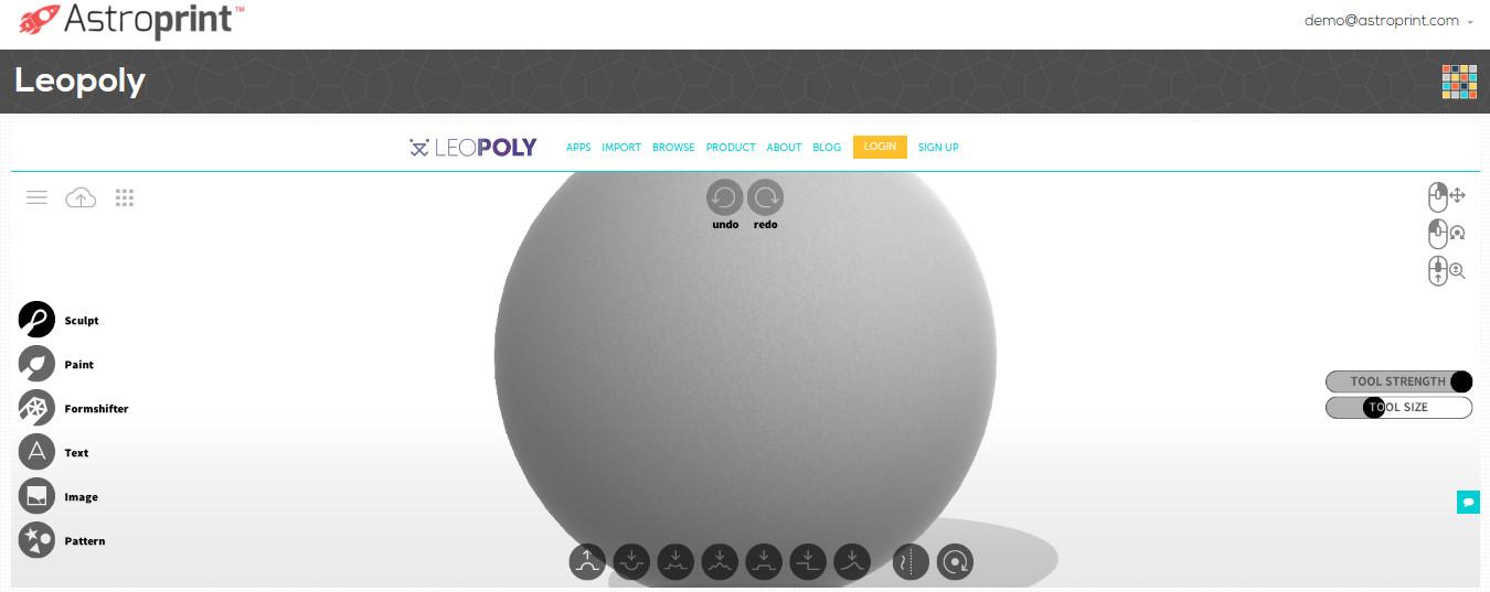 LEOPOLY 3D Design APP on AstroPrint