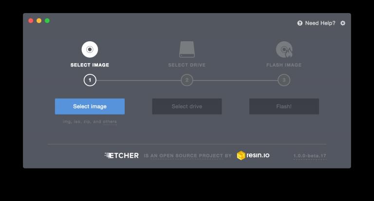 Etcher is the best way to flash an Astrobox Gateway Image onto a Raspberry Pi