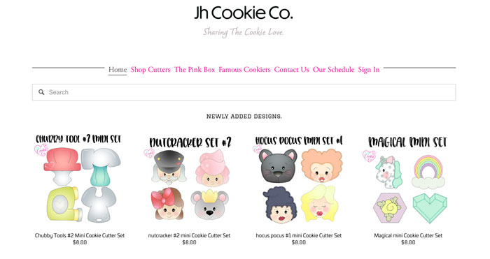 Jh Cookie Co E-commerce store.